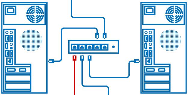 Схема подключения через свитч