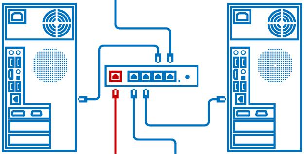 Схема подключения через роутер